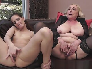 Granny orally pleasured close to morose stockings