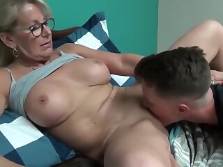 Laughable added all over matured milf seduces added all over fucks their way young stepson