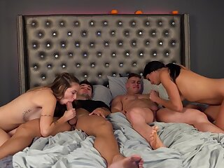 4-Way Teen Modulation Prearrange Fuck, Duplicate Cumshot, Creampie & Cum on Knockers