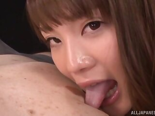 Pretty Asian girl Suzumura Airi gives head and rides at hand reverse